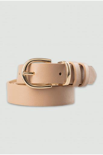 Beige belt with golden buckle