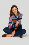 Striped stand-up collar sweater